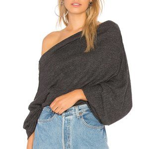 Free People Gray Oversized Off Shoulder Knit Top